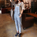 2017 spring summer overalls for women fashion casual washed denim jumpsuit light blue salopette femme with front pocket
