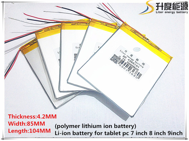 Free shipping 37v 5000mah 4285104 3 wire lithium tablet pc battery free shipping 37v 5000mah 4285104 3 wire lithium tablet pc battery with protection board polymer keyboard keysfo Gallery