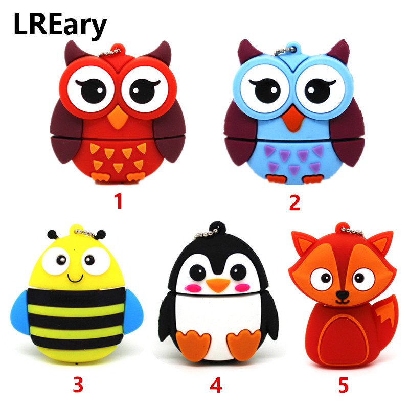 New Lovely Animal Usb Flash Drive Penguin/ Bee/ Owl/Fox Pen Drive Memory U Stick Pendrive With Keychain 32GB/16GB/8GB/4GB/128MB