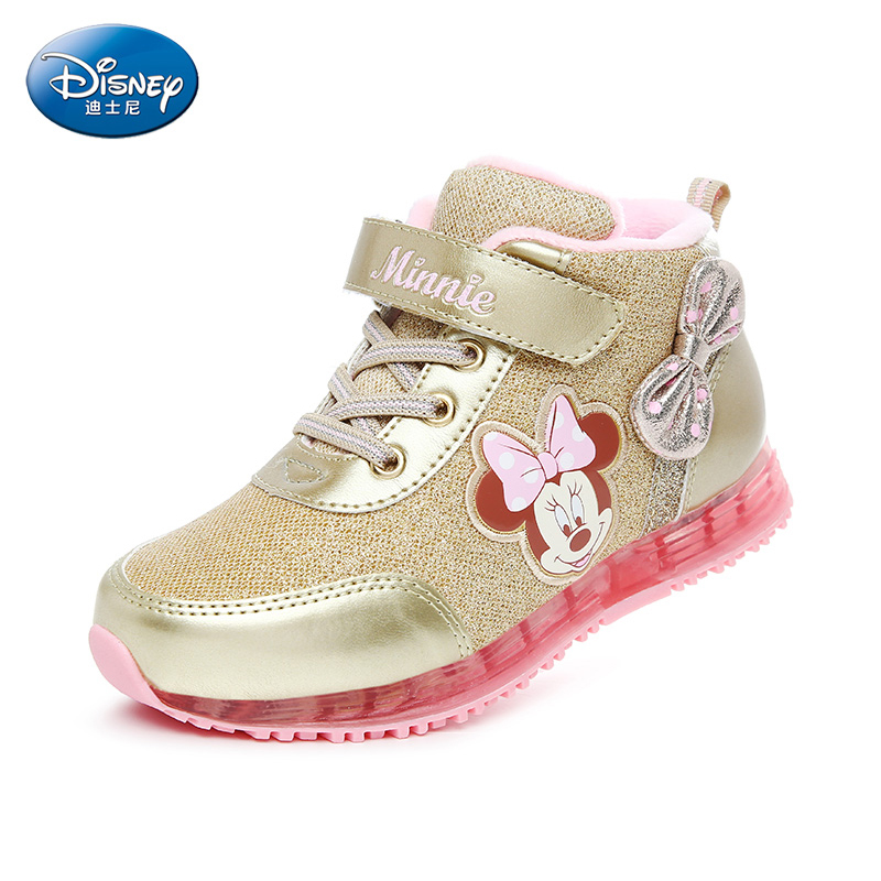 Disney Minnie Girls 2017 Winter Sneakers Soft Running Shoes  Cashmere Female Outdoor Pu Kids Casual Shoes Size26-31 DS2595 babaya new children sport shoes casual pu leather white running shoes for 4 12 years old boys and girls kids sneakers size 26 37