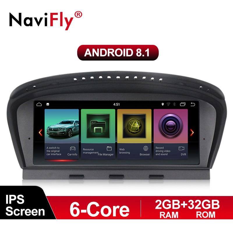 Lecteur multimédia de voiture NaviFly 6 core 2 GB + 32 GB Android 8.1 pour BMW série 3 E90 E91 E92 série 5 E60 E61 E63 E64 CCC masque CIC