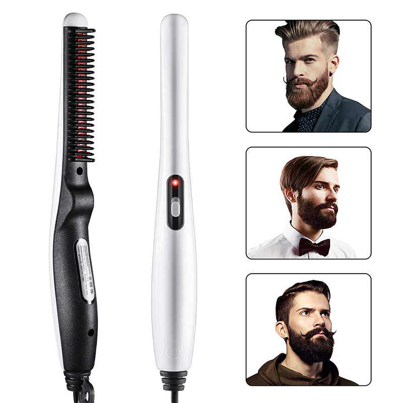 Super cheap electric men beard hair straightening comb fast curling iron irons men beard hair brush tools