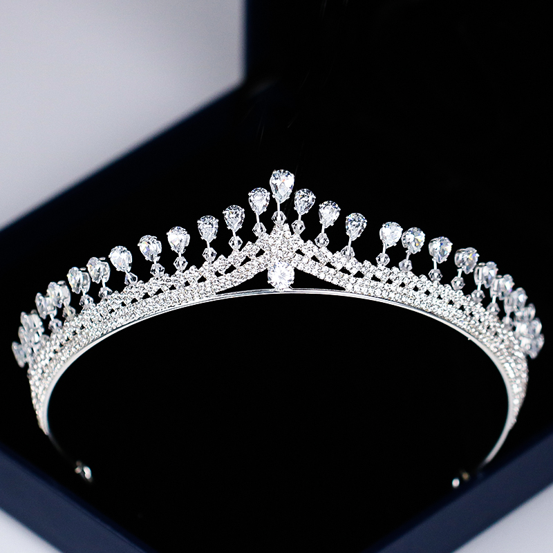 Luxury Women Princess Crown Headband Crystal Rhinestone Tiara And Crown Hair Band Jewelry Silver Bridal Hair Accessories Wedding цена