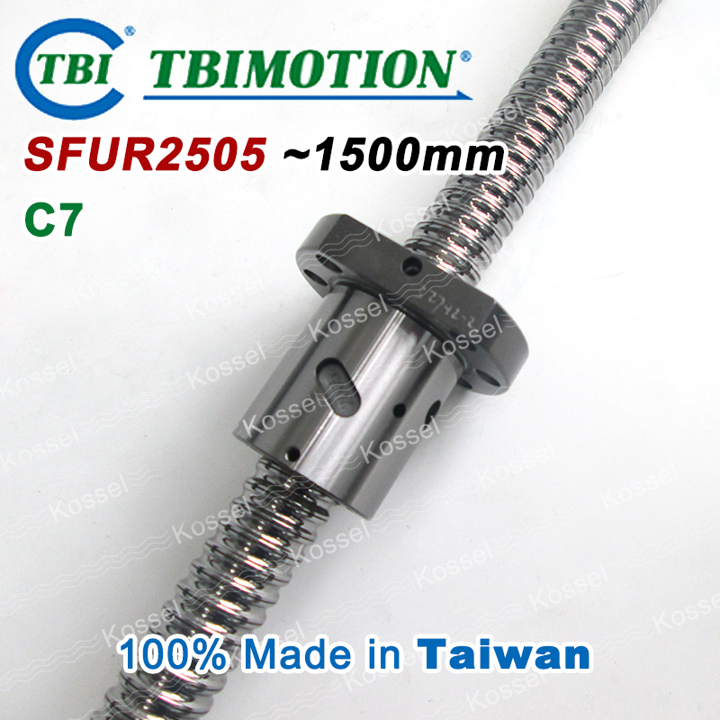 TBI BallScrew assembly  SFU2505 1500mm ball screw SFU 2505 ball nuts and end machined for high stability linear CNC diy kit tbi dfi 2505 600mm ball screw milled ballscrew and end machined for high stability linear cnc diy kit