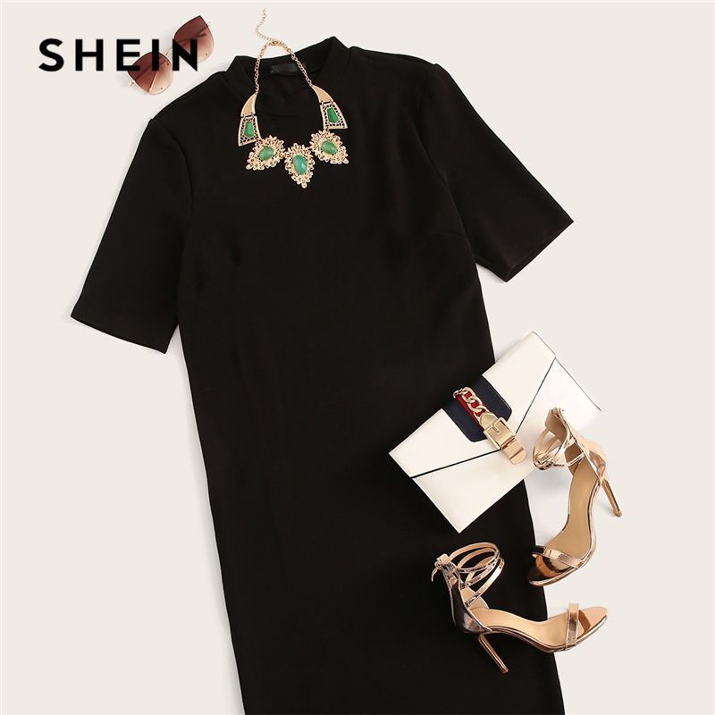 SHEIN Classy Black Plus Size Mock-neck Solid Pencil Slim Dress Women Spring Office Lady Bodycon Basics Plus Size Long Dresses 5