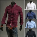 2017 Spring Autumn New Men Fashion Slim Fit Solid Long Sleeve Shirt Business Casual Men's Brand Clothing camisa Shirt