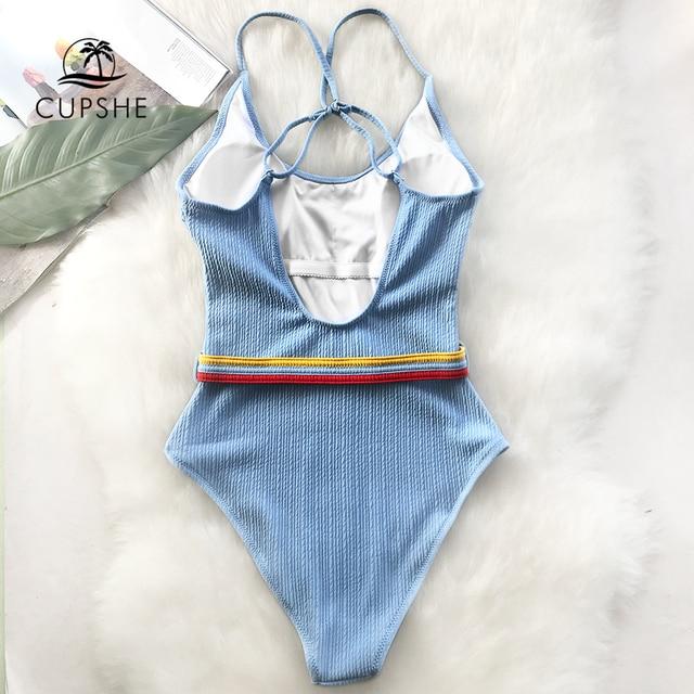 CUPSHE Blue One-piece Swimsuit Women Cut Out Soild Monokinis With Single Waistband 2020 New Girl Beach Bathing Suit Swimwear 2