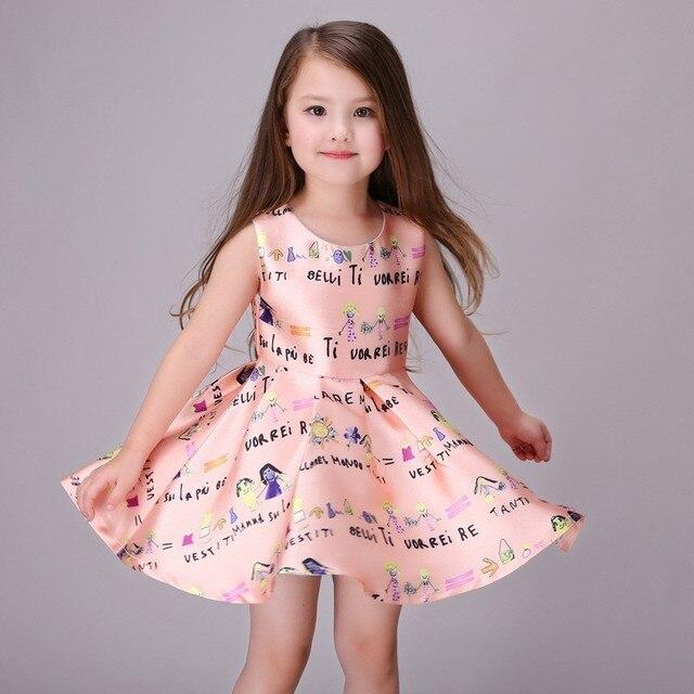 a8c49a4a90a 2016 лидер летних продаж Мода Платье принцессы из мультика милые без рукавов  для девочек милое платье