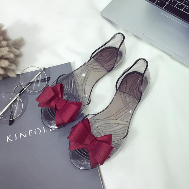 2018 Summer New Favolook Women Bow Flower Jelly Beach Casual Sandals Flip Flops Flat Shoes Fashion Clear Sandals Red,Black,Beige