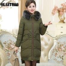 Осень-зима Для женщин длинные с капюшоном хлопка-ватник среднего возраста Для женщин Корейский сгущаться теплое хлопковое пальто