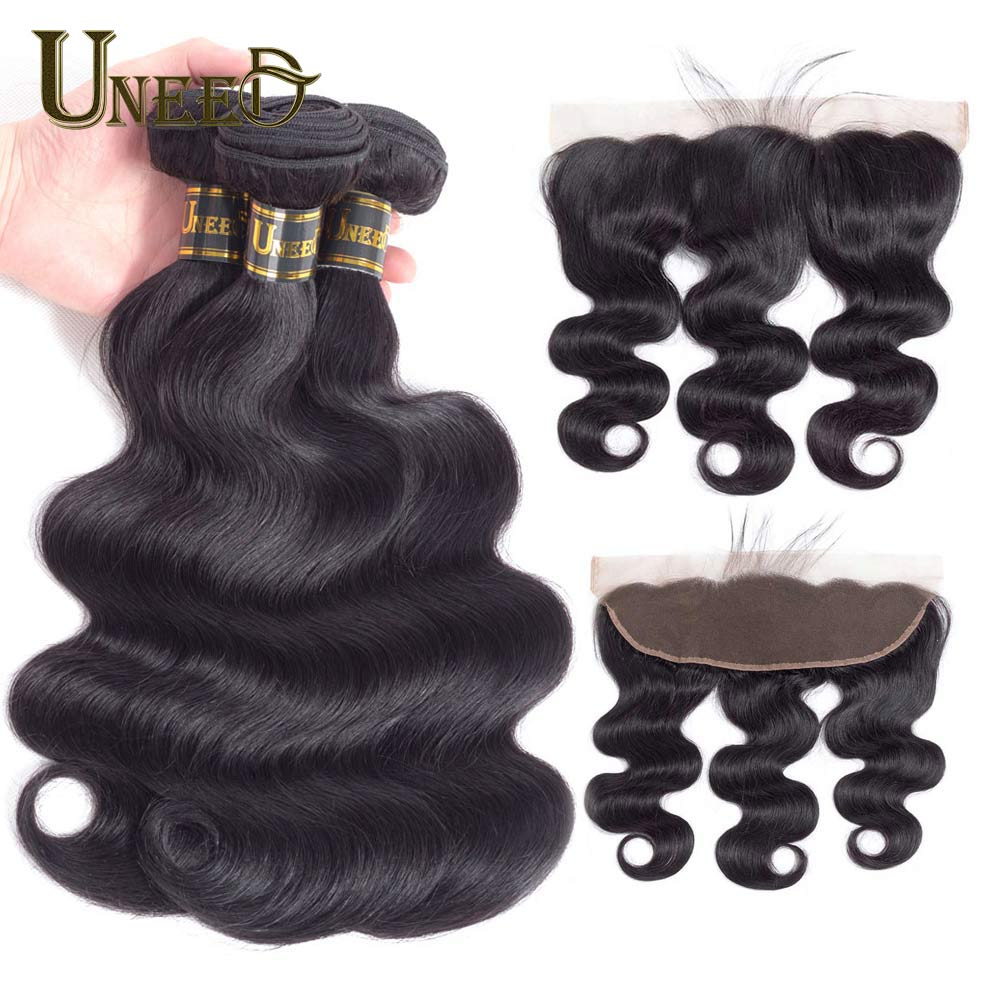 Uneed Hair Brazilian Body Wave 3 Bundles With Lace Frontal Closure 13X4 Pre Plucked Remy Human