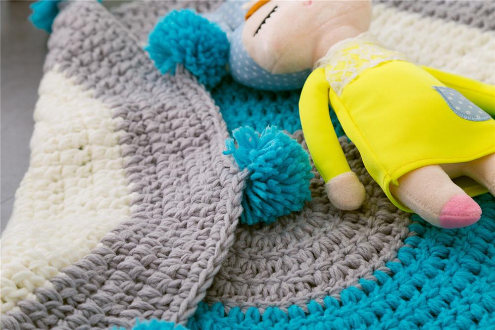 INS Children Premises Mat Hand-woven Mats Baby Play Mats Knitted Blanket Handmade Ball Children Premises Mat Crawling Mat (6)