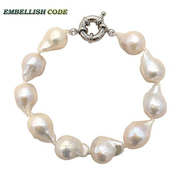 f4c26021b316 Tamaño Normal color blanco barroco perlas pulsera tejido nucleated llama  forma de bola perlas naturales de