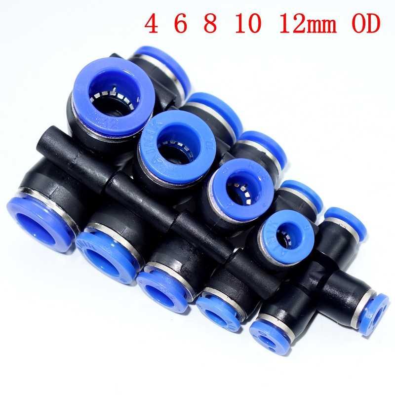 Lote 5 Tubo De Ajuste O//D 8mm Tee 3 vías conector empujar en Unión Neumático Montaje