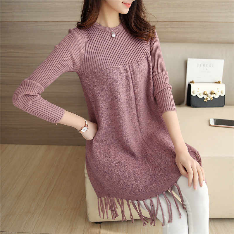 2019 otoño invierno nuevo coreano de felpa suéter vestido mujer borla suelta cuello alto camisa de manga larga suéter todo-fósforo suéter