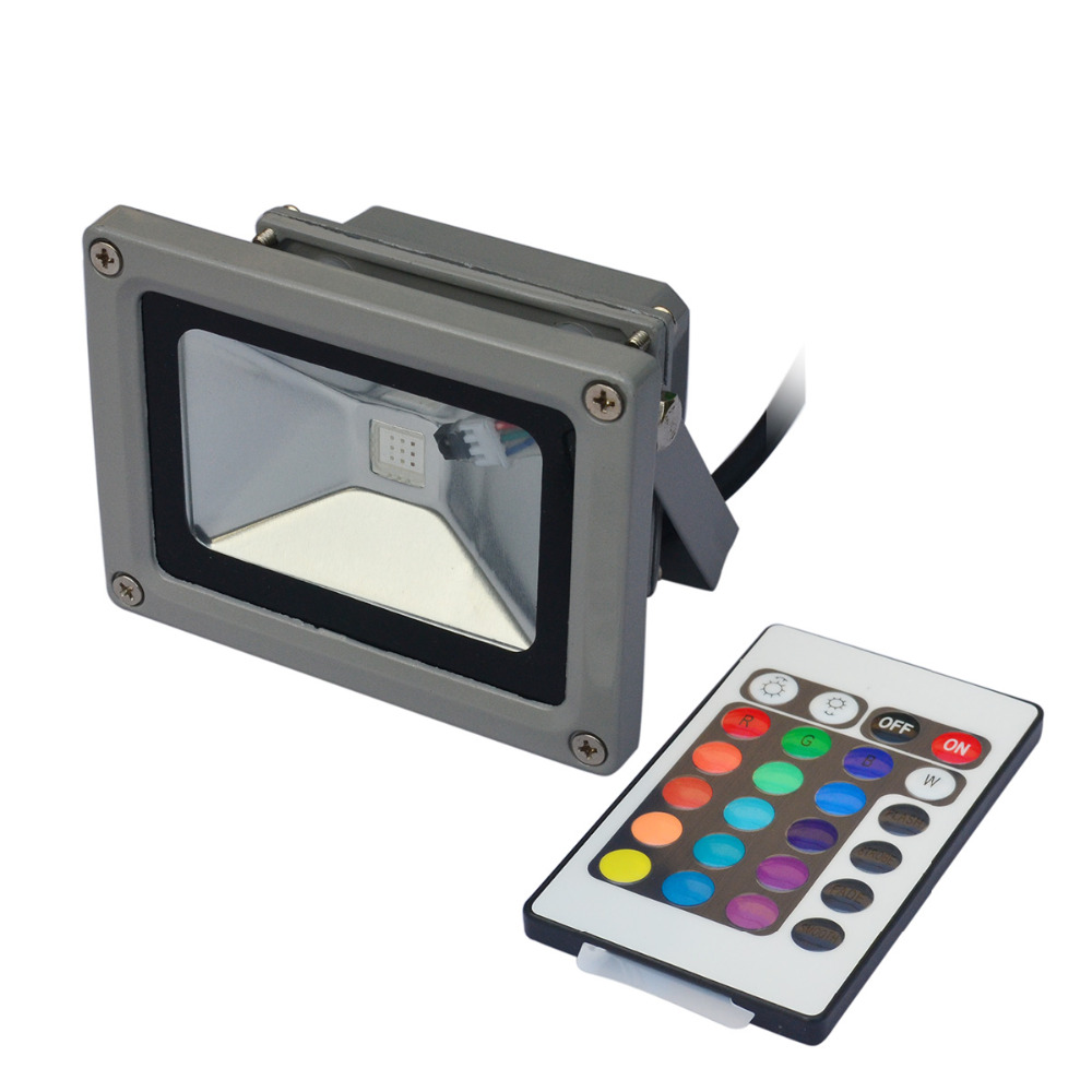 2pcs/lot,10W RGB+24Keys Controller LED Floodlight Outdoor Landscape Project Lighting 85~265V With Plug Warranty 2 Years