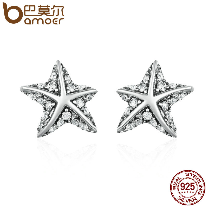 BAMOER Hot Sale 100% 925 Sterling Silver Star Tropical Starfish Stud Earrings for Women, Clear CZ Fashion Jewelry Bijoux PAS514