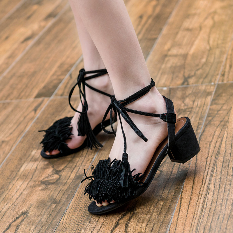 642e7f4a05f Sexy Tassel Block Heel Women Sandals Summer Women Shoes Fringe Sandals  Slippers Slides Gladiator High Heels Dropshipping-in High Heels from Shoes  on ...
