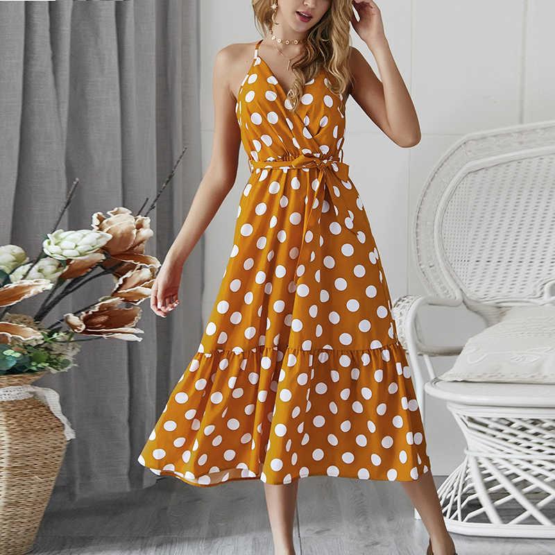58d2b621be325 2019 Summer Women's Dresses High Waist Polka Dot Bandage Dress Sexy ...