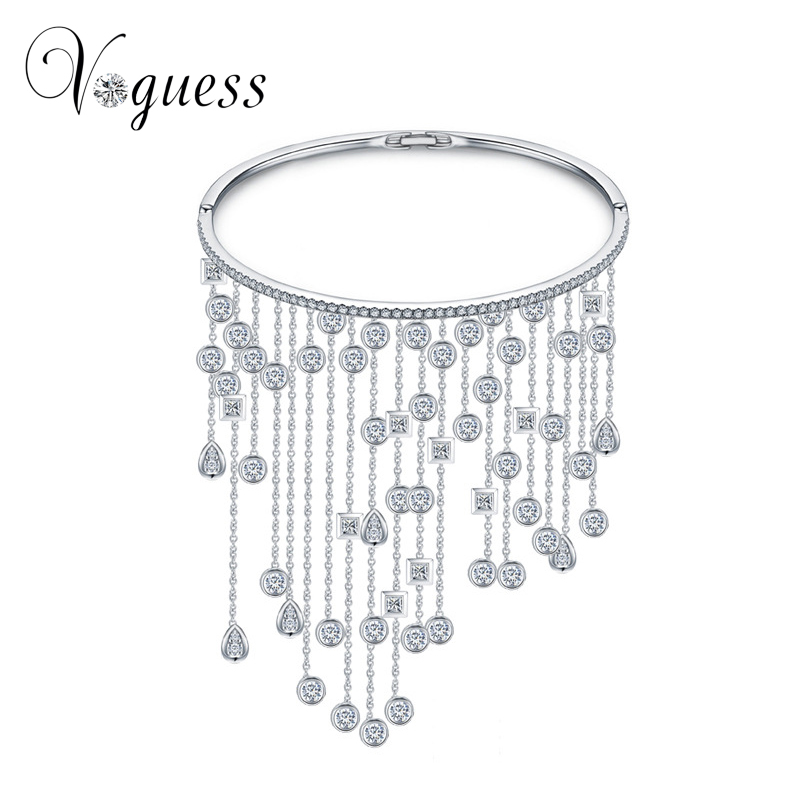 60d2304b3b1d Voguess свадебный браслет изделия класса люкс CZ Кристалл женские ручной  работы водослива длинной кисточкой Браслеты браслеты для Для женщин Б..