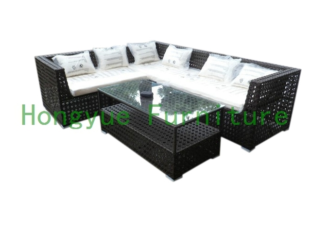 Patio de ratán sofá seccional set, exterior mimbre seccional muebles