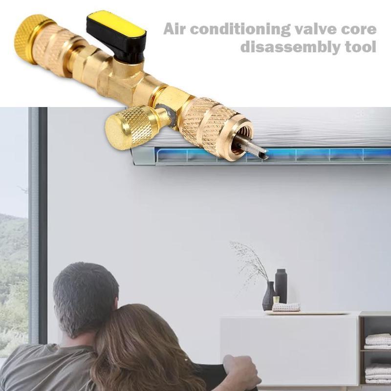 HVAC AC Valve Core Remover Dual Size Port Handling Tool for Car Automobile Valve Core Repair Tools