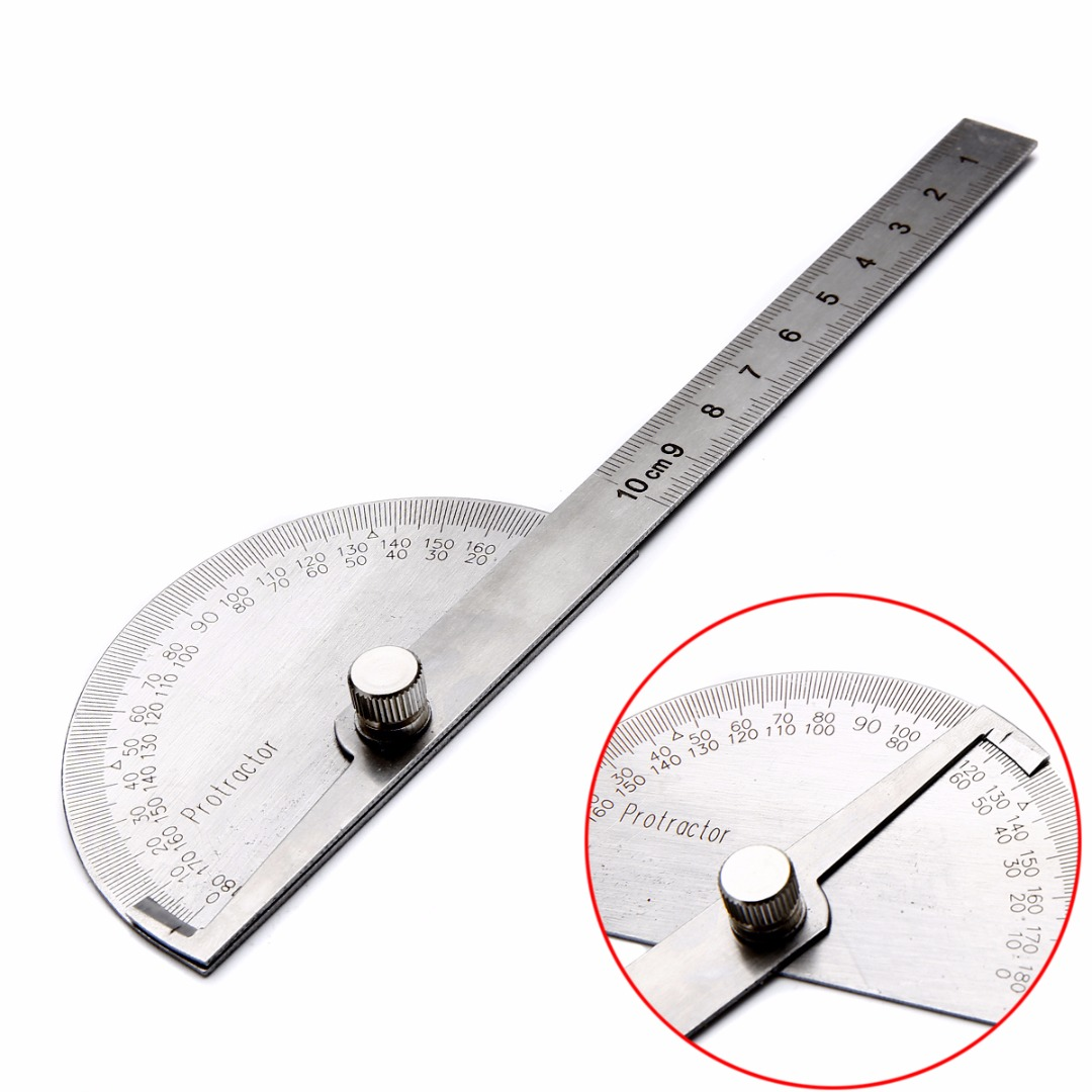 1pc Stainless Steel Protractor Finder Rotary Ruler 180 Degree 198x53x14mm For Woodworking Measuring Tool