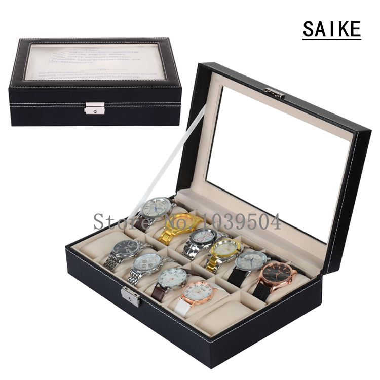 Lateral Lock 12 Grids Watches Box Black Leather Brand Watch Display Box With Lock Fashion Watch Storage And Jewelry Boxes D025 free shipping khaki 12 grids pu watch box brand watch display watch box watch storage boxes rectangle gold pillow gift box w029