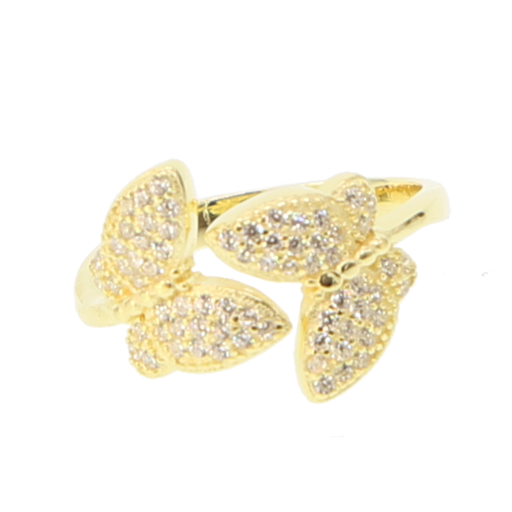 stock promotion sale silver jewelry gold filled cute butterfly micro pave cz butterfly delicate dainty animimal gold color ring