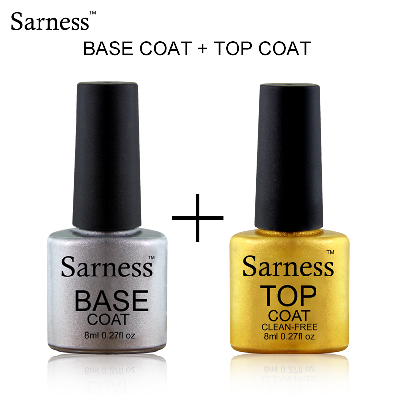 Sarness No Wipe Base Coat Top Coat 8ml Lamp Nail Gel Soak