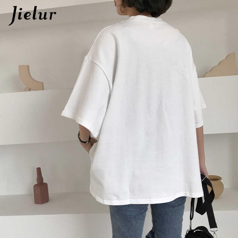 Jielur футболка Женская Корейская свободная забавная Милая Футболка женская белая красная Повседневная футболка с принтом из мультфильмов Mujer милые топы Feminina