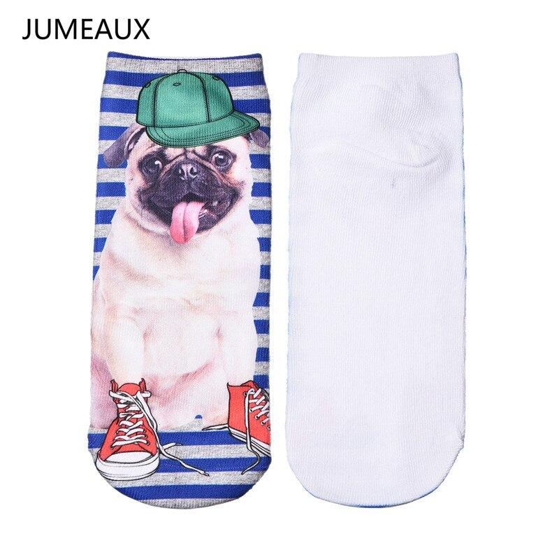 JUMEAUX Cute 3d Print Animal Socks Women Casual Funny Pug Dog Cat Low Cut Ankle Socks Unisex Hot Sale