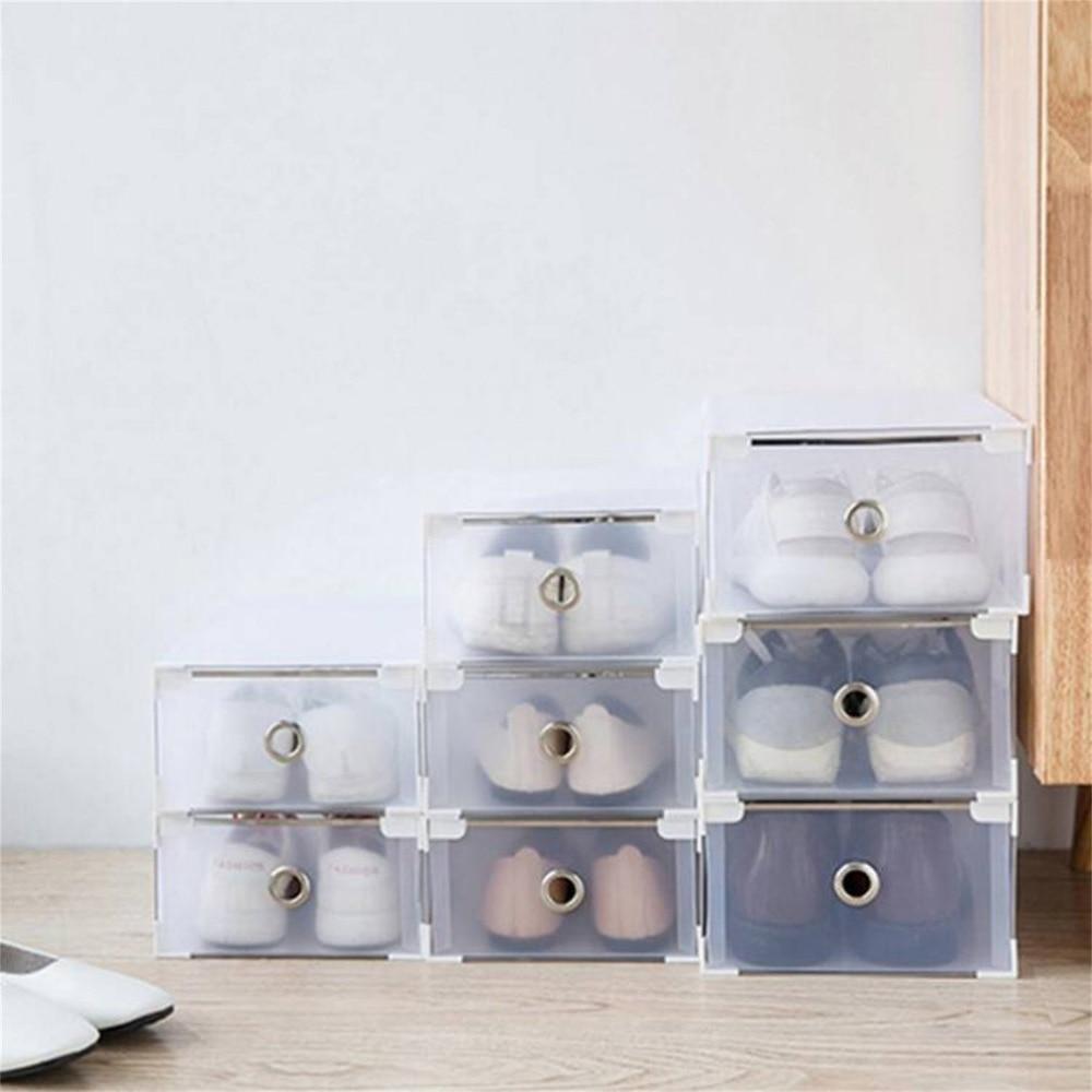 24pcs Foldable Shoes Storage Boxes Plastic Shoe Boxes Universal Home Organizer Stackable Storage Drawer Transparent Holding Box