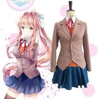 Natsuki Adult Cosplay Costume Vest Jacket Skirt with Yuri Monika Sayori Wig England style Student Dress Customized