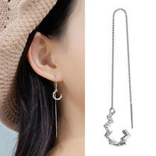 2019  NEW 1 Pair S925 Silver Plated Wave Cuff Chain Earrings Wrap Tassel Threader Women