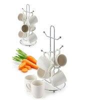 Hot Coffee Tea Cup Mug Holder stand Kitchen Cup Holder 6 Mug Storage Rack Coffee Mug Tree Jewelry Display Organizer