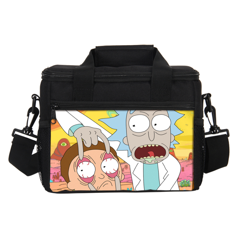 Rick And Morty Prints Lunch Bag For Men Women Ice Bag Fashion Cartoon Insulated Thermal Picnic Small Lunch box Kids Ice Pack