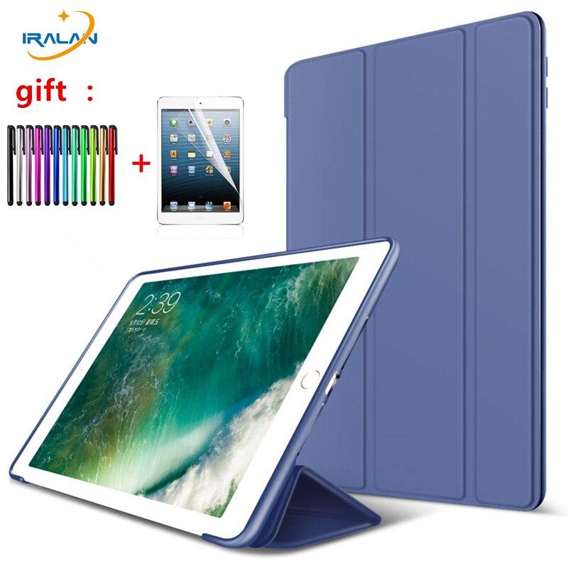 New PU Leather TPU+Silicone Soft Back Case For iPad Mini 1 2 3 Tri-fold Stand smart cover for iPad Mini 123 7.9 inch+film+stylus