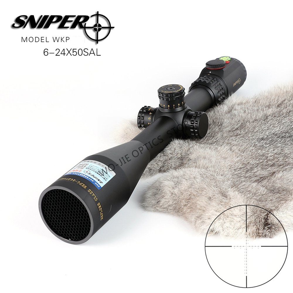 SNIPER 6-24X50 Hunting Riflescopes Tactical Optical Sight Full Size Glass Etched Reticle RGB Illuminated Rifle Scope