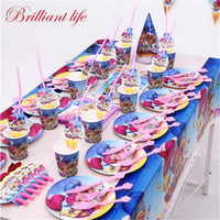 176pcs/lot Shimmer Shine Theme Child Girl Birthday Party Paper Cup Plate Wedding Family Party Horn Gift Bag Cocked Cap Supply