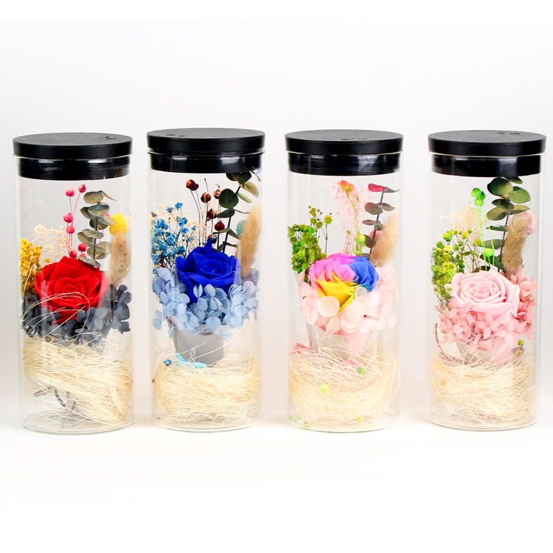 Preserved Rose RGB LED Lights Decoration Real Natural Fresh Handmade Never Withered Rose Preserved Flowers in Glass Jar Gifts