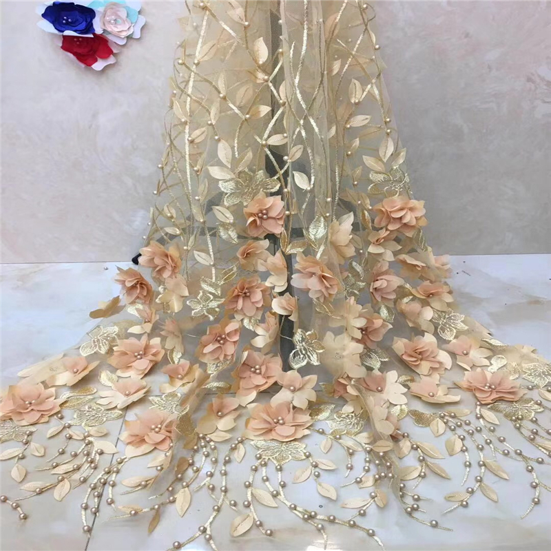 Arts,crafts & Sewing Steady Villiea Nigerian Lace Fabrics For Wedding 2018 African Lace Fabric Hand Made With Beads High Quality Gold Embroidery French Lace