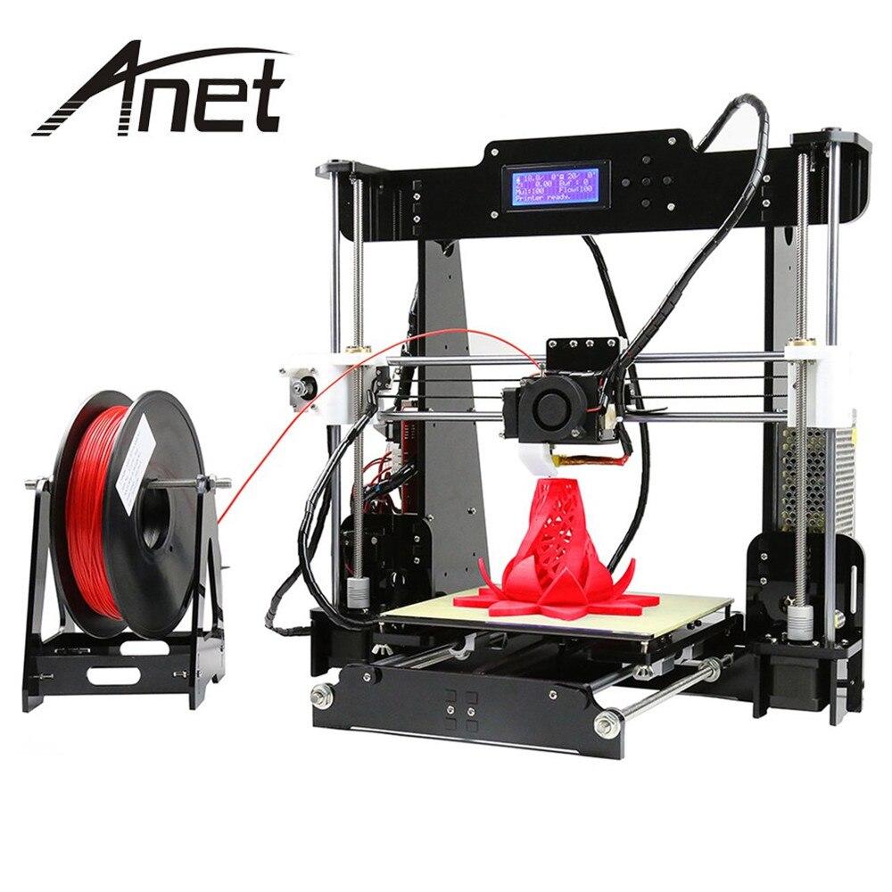 Anet A8 imprimante 3D impression couleur imprimante grande taille d'impression précision Reprap 3 bricolage 3D imprimante kit 3 matériaux LCD Filament
