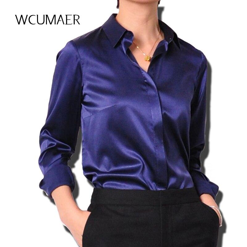 19e47a7211b8 S-XXXL women OL satin silk blouse button ladies silk satin blouse shirt  casual White Black Gold ...