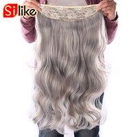Silike 물결 모양의 클립 4 클립 190 그람/몫 내열 섬유 24 인치 뻗어 순수한 컬러 합성 머리 확장 여성