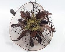 Wedding party romantic pink voile flower headband bride high quality handmade hair jewelry bridal hair font