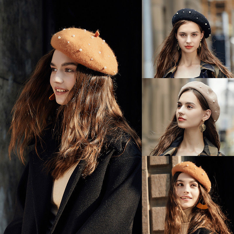 100% Pure Wool Felt Beret Women Fashion British Style Girls Beret Hat Lady  Pearl Solid Color Winter Hats Women Wool Beret Women's Berets  - AliExpress