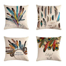 Cushion gift series of colorful feathers HomerDecor Cover Throw  Pillowcase Pillow Covers 45 * 45cm Sofa Seat D