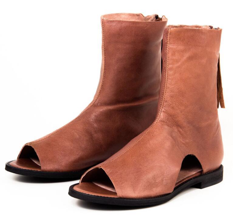 Open Toe Flat Booties Sandals Women