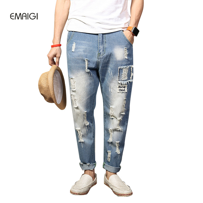 Large Size High Street Hip Hop Hole Patch Baggy Jeans Men's Brand Men Loose Denim Pants Male Fashion Casual Denim Harem Trousers hot new large size jeans fashion loose jeans hip hop casual jeans wide leg jeans